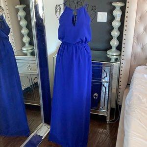 High neck royal blue maxi dress